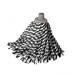 Насадка МОП веревочная для швабры, крепление еврорезьба, черно-белая, хлопок, ворс 24 см, 160 г, YORK Zebra, 73060