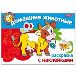 Книжка-раскраска А5, 4 л., HATBER, с наклейками, Мои первые уроки, Домашние животные, 4Р5н 05824, R133187