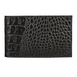 Визитница карманная BEFLER Кайман, на 40 визиток, натуральная кожа, крокодил, черная, V.30.-13