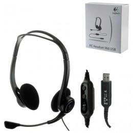 Наушники с микрофоном (гарнитура) LOGITECH PC 960, проводная, компьютерная, 2,4 м, стерео, USB, черная, 981-000100