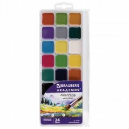 Краски акварельные BRAUBERG АКАДЕМИЯ 24 цвета, медовые, квадратные кюветы, пластиковый пенал, 191522