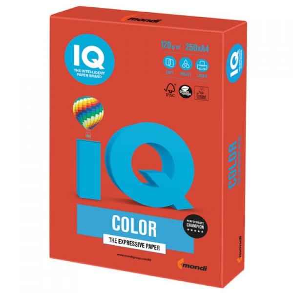 Бумага цветная IQ color, А4, 120 г/м2, 250 л., интенсив, кораллово-красная, CO44