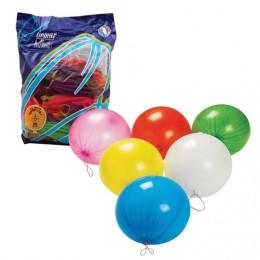 Шары воздушные 16 (41 см), комплект 25 шт., панч-болл (шар-игрушка с резинкой), 12 неоновых цветов, пакет, 1104-0005