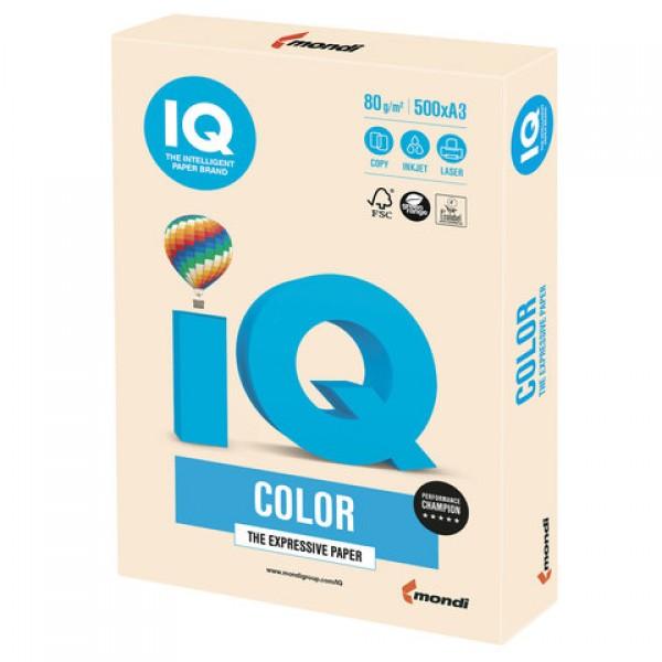 Бумага цветная IQ color БОЛЬШОЙ ФОРМАТ (297х420 мм), А3, 80 г/м2, 500 л., пастель, кремовая, CR20