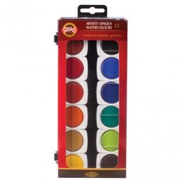 Краски акварельные художественные KOH-I-NOOR, 12 цветов, кроющие, без кисти, 017550400000