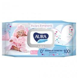 Салфетки влажные КОМПЛЕКТ 100 шт., для детей AURA Ultra comfort, гипоаллергенные, без спирта, крышка-клапан, 6486