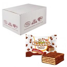 Конфеты шоколадные РОТ ФРОНТ Коровка, вафельные с шоколадной начинкой, весовые, 2 кг, гофрокороб, РФ17636