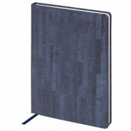Еженедельник 2021 БОЛЬШОЙ ФОРМАТ (210*297мм), А4, BRAUBERG Wood, кожзам, синий, код 1, 111531