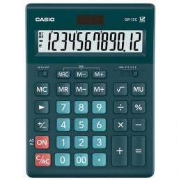 Калькулятор CASIO настольный GR-12С-DG, 12 разрядов, двойное питание, 210х155 мм, темно-зеленый, GR-12C-DG-W-EP