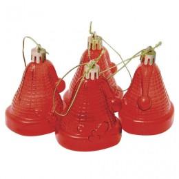 Украшения елочные подвесные Колокольчики, НАБОР 4 шт., 6,5 см, пластик, полупрозрачные, красные, 59596