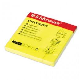Блок самоклеящийся (стикер) ERICH KRAUSE НЕОН, 75х75 мм, 80 листов желтый, 7336