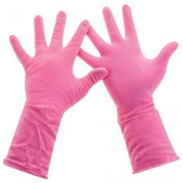 Перчатки хоз. латексные, х/б напыление, разм L (средний), розовые, PACLAN