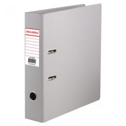 Папка-регистратор BRAUBERG с двухсторонним покрытием из ПВХ, 70 мм, серая, 222656