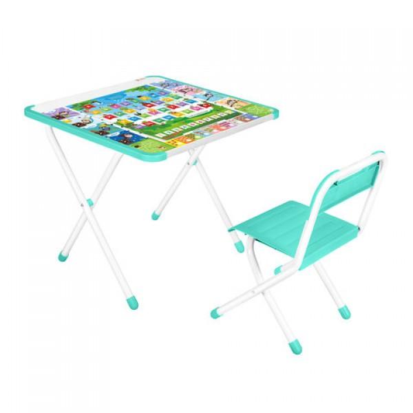 Стол детский + стул ДЭМИ, рост 2, складной, с накладкой, бирюзовый каркас,
