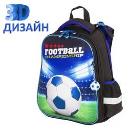 Ранец BRAUBERG PREMIUM, 2 отделения, с брелком, Football champion, 3D панель, 38х29х16 см, 229911