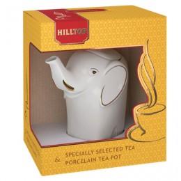 Чай HILLTOP Королевское Золото черный листовой, 80 г, фарфоровый чайник СЛОН ЗОЛОТО 700 мл, 16005