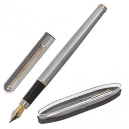 Ручка бизнес-класса перьевая BRAUBERG Larghetto, СИНЯЯ, корпус серебристый с хромированными деталями, линия письма 0,25 мм, 14347, 143475