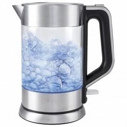 Чайник KITFORT КТ-617, 1,5 л, 2200 Вт, закрытый нагревательный элемент, стекло, серебристый, KT-617