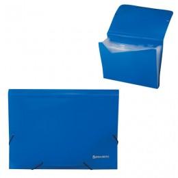 Папка на резинках BRAUBERG, А4, 13 отделений, пластиковые индексы, синяя, Россия, 226019