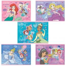 Альбом для рисования, А4, 12 листов, скоба, обложка картон, HATBER, 205х290 мм, Принцессы-DISNEY (5 видов), 12А4В