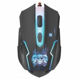 Мышь проводная игровая DEFENDER Skull GM-180L, USB, 5 кнопок+1 колесо-кнопка, оптическая, черная, 52180