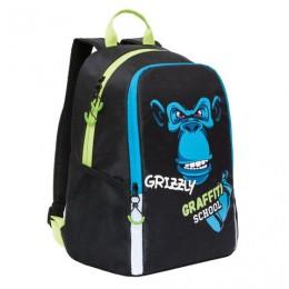 Рюкзак GRIZZLY школьный, анатомическая спинка, черный, Шимпанзе, 38x29x17 см, RB-051-6/1