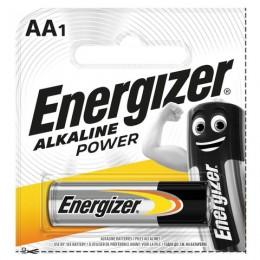 Батарейка ENERGIZER Alkaline Power, AA (LR06, 15А), алкалиновая, 1 шт., в блистере (отрывной блок), E300140301