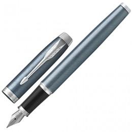 Ручка перьевая PARKER IM Core Light Blue Grey CT, корпус серо-голубой лак, хромированные детали, синяя, 1931648