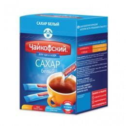 Сахар в стиках Чайкофский, 5 г, белый, порционный, 60 пакетиков, 0,3 кг, картонная упаковка