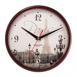 Часы настенные TROYKA 91931927, круг, с рисунком Paris, коричневая рамка, 23х23х4 см