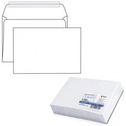 Конверт С5, комплект 100 шт., отрывная полоса STRIP, белый, 162х229 мм, 80 г/м2, С50.10.100С
