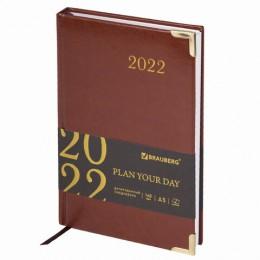 Ежедневник датированный 2022 А5 (138х213мм) BRAUBERG Senator коричневый, код, 112781