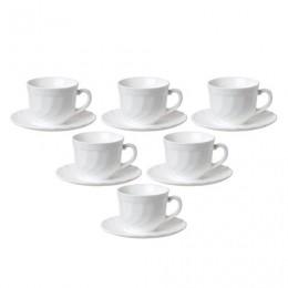Набор чайный на 6 персон, 6 чашек объемом 220 мл и 6 блюдец, белое стекло, Trianon, LUMINARC, E8845