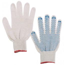Перчатки хлопчатобумажные 7,5 класс, 46-48 г, 166 текс, ПВХ-точка, комплект 5 пар, ЛАЙМА, ГОСТ, 4 нити, белые, 603580