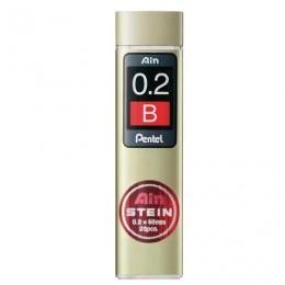 Грифели запасные PENTEL (Япония) в КОМПЛЕКТЕ из 20 шт., Ain Stein, В, 0,2 мм, C272W-B