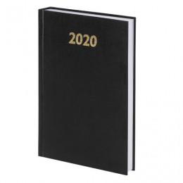 Ежедневник датированный 2020 А5, твердая обложка бумвинил, черный, 145*215мм, BRAUBERG, 110909