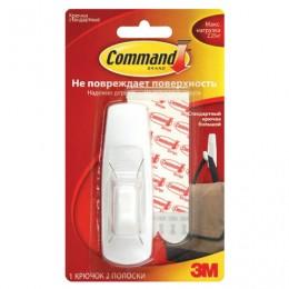 Крючок самоклеящийся COMMAND, легкоудаляемый, большой, белый, до 2,25 кг, 17003