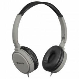Наушники с микрофоном (гарнитура) DEFENDER Accord 160, проводные, 1,2 м, с оголовьем, черные с серым, 63160