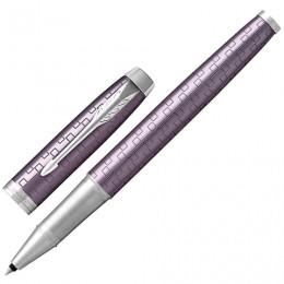 Ручка-роллер PARKER IM Premium Dark Violet CT, корпус фиолетовый с гравировкой, хромированные детали, черная, 1931639