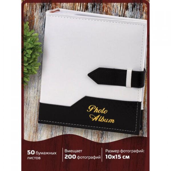 Фотоальбом BRAUBERG на 200 фото. 10х15 см, под замшу, бумажные страницы, бокс, белый с черным, 391114