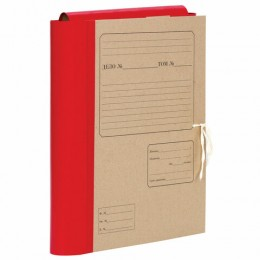 Папка для бумаг архивная А4 (225х310 мм), 80 мм, 4 завязки, крафт, корешок - бумвинил, 123203