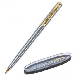 Ручка бизнес-класса шариковая BRAUBERG Maestro, СИНЯЯ, корпус серебристый с золотистым, линия письма 0,5 мм, 143468