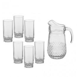 Набор столовый, 7 предметов, кувшин 1250 мл + 6 стаканов 275 мл, стекло,