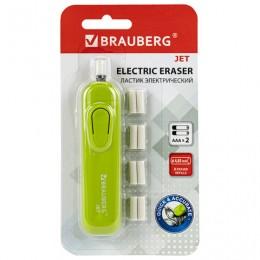 Ластик электрический BRAUBERG JET, питание от 2 батареек ААА, 8 сменных ластиков, салатовый, 229615