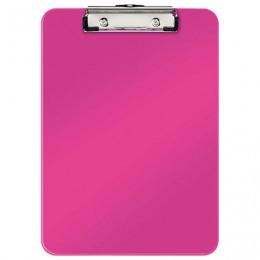 Доска-планшет LEITZ WOW, с верхним прижимом, A4, 320х228 мм, пластик, 1,7 мм, розовая, 39710023