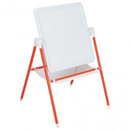 Доска-мольберт двусторонняя для мела и магнитно-маркерная (52х46 см), оранжевая/белая, ДЭМИ МДУ.08
