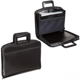 Портфель-папка пластиковый BRAUBERG А4+, 355х290х60 мм, на молнии, выдвижные ручки, 8 отделений, 2 кармана, черный, 225168