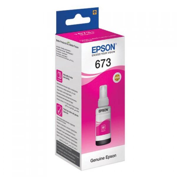 Чернила EPSON (C13T67334A) для СНПЧ Epson L800/L805/L810/L850/L1800, пурпурные, оригинальные