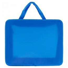 Папка на молнии с ручками ПИФАГОР, А4, пластик, молния сверху, однотонная синяя, 228233