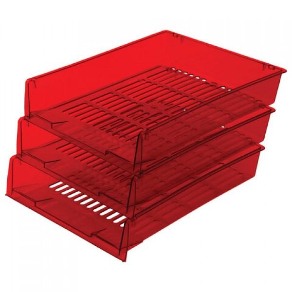 Лотки горизонтальные для бумаг, КОМПЛЕКТ 3 шт., 340х270х70 мм, тонированный красный, BRAUBERG